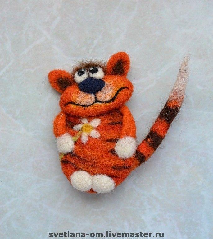 """Валяная брошь """"Кот рыжий"""" - валяная брошь,коты,оригинальный подарок,магнитик"""