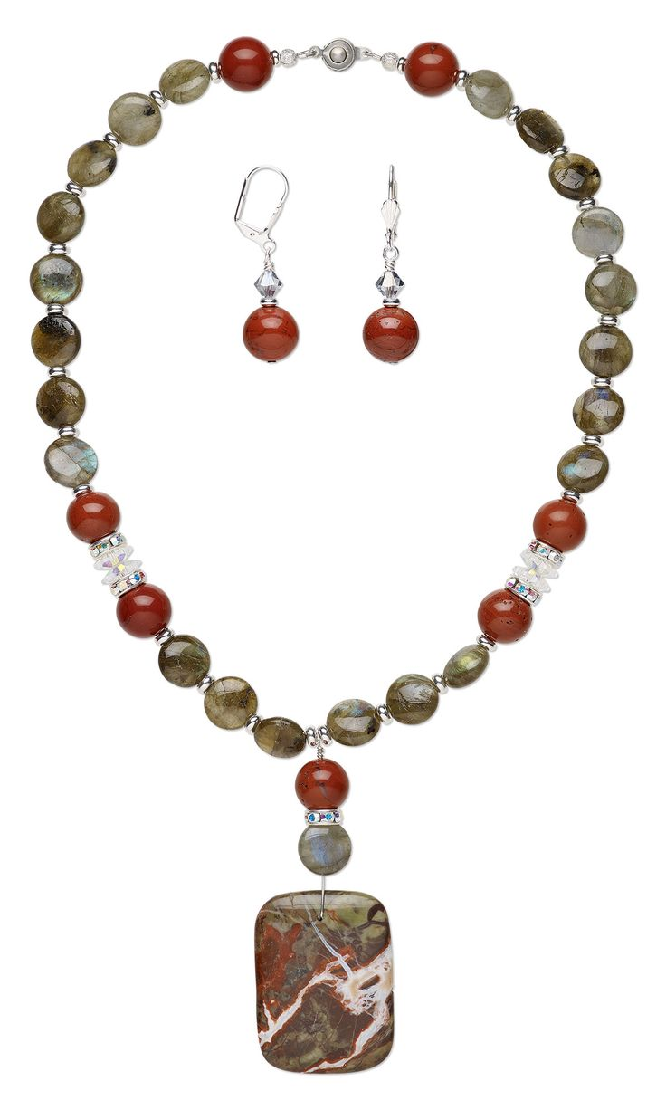 Jewelry Design - Single-Strand Necklace and Earring Set with Sierra Agate Gemstone Focal and Labradorite and Red Jasper Gemstone Beads - Fire Mountain Gems and Beads