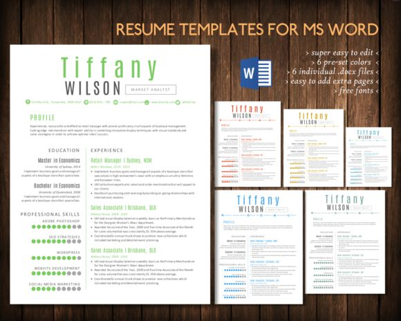 simple 2 pages word resume by inkpower on creative market