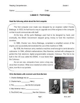 This lesson is designed for fourth grade ESL or EFL learners. The topic for this reading worksheet is technology, specifically the world's first computer.