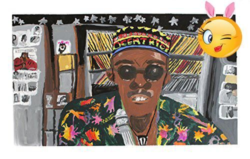 #fineart Tempera painting by artist Larry Dunbar. This piece depicts a male figure (DJ) in a radio station, wearing colorful #reggae attire.