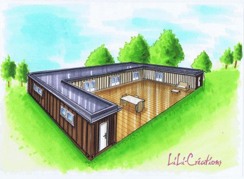 Maison container 44 shpc pinterest maisons for Construction maison avec container