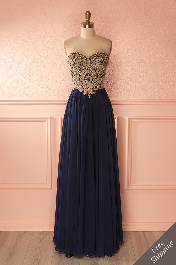 Emora Nuit - Navy blue sparkly top empire gown