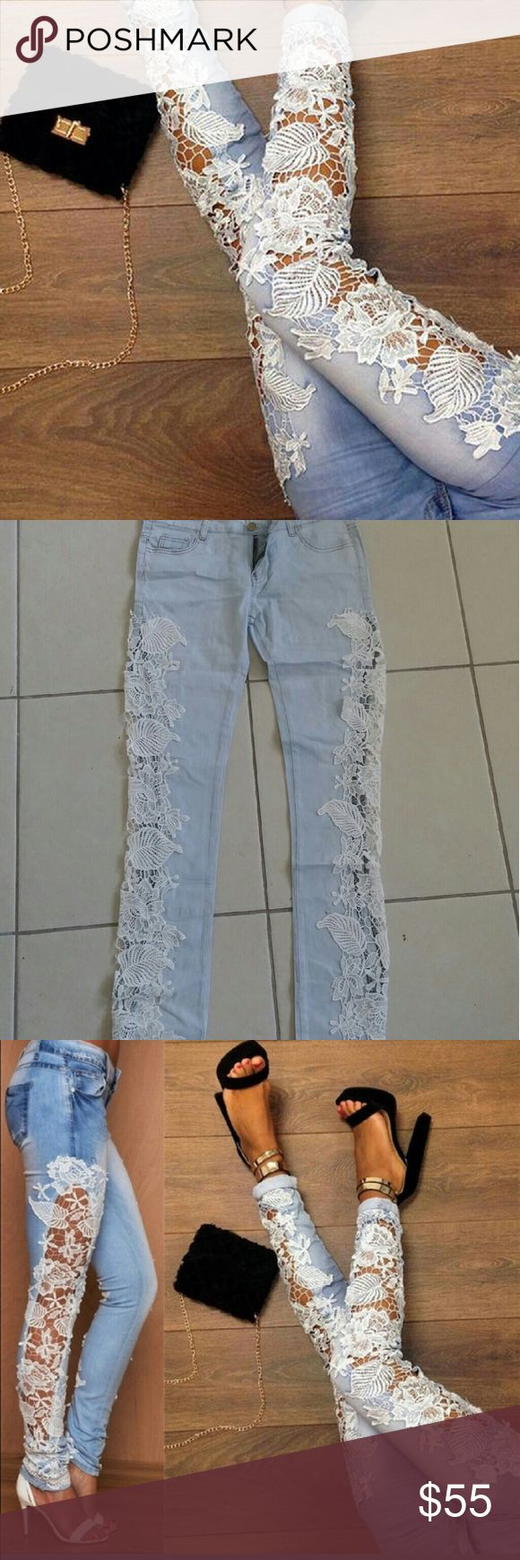 NWOT Gorgeous Lace Jeans Very beautiful floral lace jeans. Stretchy.  S-26in waist,, 31 inseam Jeans Skinny