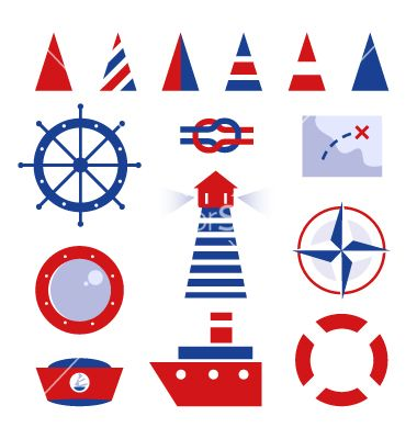 Sailor and sea icons isolated on white vector