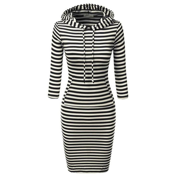 Fashion Women Full Sleeve Striped Hoody Hoodie Hooded with Pockets Autumn Winter Wear Bodycon Casual Pencil Dress alishoppbrasil