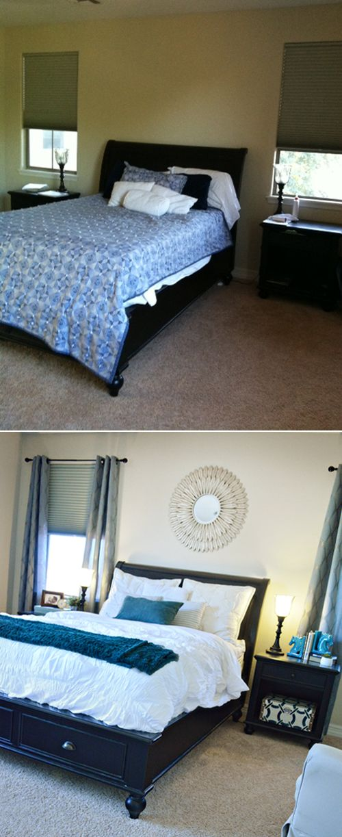 of color really brightens up the room without doing a lot of work master bedroom transformation from blah to ahhhh with great finds from homegoods