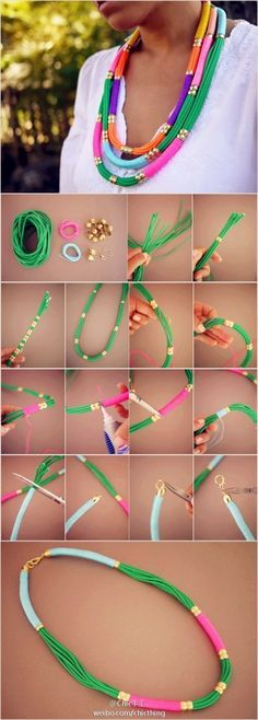 27 Useful Fashionable #DIY Ideas, DIY Utility Rope #Necklace Daily update on my website: ediy3.com
