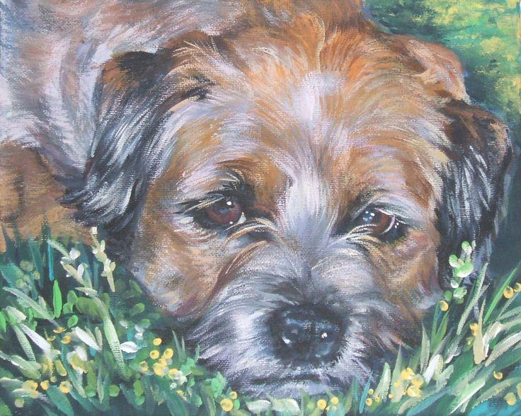 Border Terriër art CANVAS afdrukken van LA Shepard hond 8 x 10 hond kunst schilderij door TheDogLover op Etsy https://www.etsy.com/nl/listing/32037465/border-terrier-art-canvas-afdrukken-van