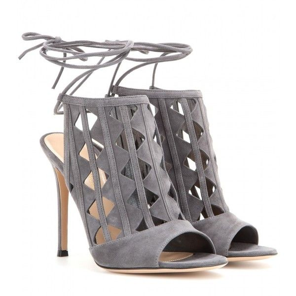 Gianvito Rossi Maxine Cut-Out Suede Sandals (£580) ❤ liked on Polyvore featuring shoes, sandals, heels, sapatos, grey, grey sandals, gianvito rossi shoes, gray suede shoes, cutout shoes and heeled sandals