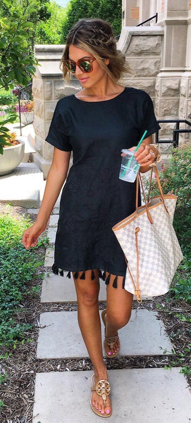 #summer #outfits Black Tassel Dress + Gingham Tote Bag // Shop this outfit in the link