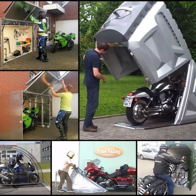 17 best ideas about motorcycle storage shed on pinterest for Motorcycle garage plans