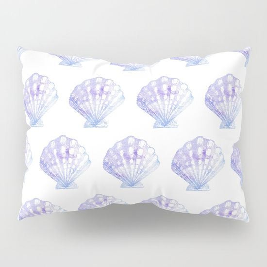 Purple & Blue Watercolor Seashell Pillow Sham | Mermaid Bedroom | Mermaid Pillow | Seashell Pillow | Seashell Bedroom | Ocean Bedroom | Coastal Bedroom | Girls Beach Bedroom