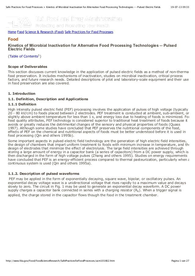 FDA - kinetics of microbial inactivation for alternative food processing technologies -- pulsed electric fields by Wouter de Heij via slideshare