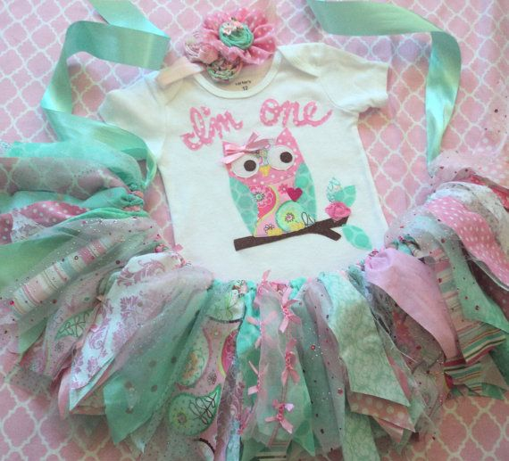Owl 1st Birthday outfit Girls Pink mint aqua owl by RockabyeJoss
