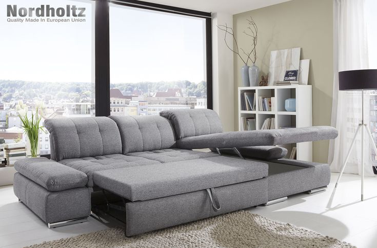 Alpine Sectional Sofa - Modern & Contemporary Design. Features: sleeper, adjustable headrest, armrest, seating depth and storage chaise. Made in Germany.