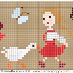 <b>Happy Childhood, The geese (large)</b><br>cross stitch pattern<br>by <b>Perrette Samouiloff</b>