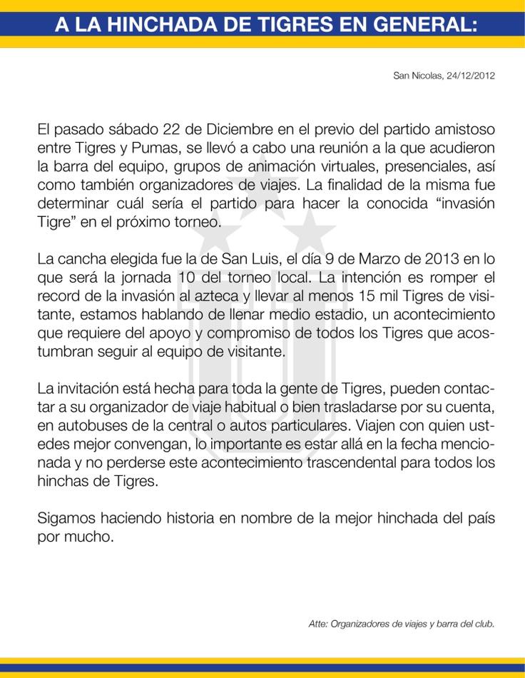 Comunicado de Libres y Lokos - Invasión 2013.