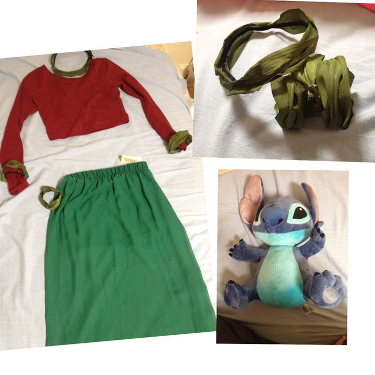 DIY Lilo Costume Forever 21 Crop Top and Skirt Hot glue fake leaves onto a headband and hair tie ...