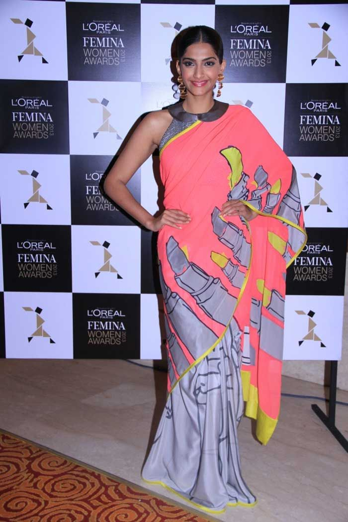Sonam Kapoor was at her stylish best in a Masaba sari at the second edition of L'Oreal Paris Femina Women Awards 2013. We love her earrings!