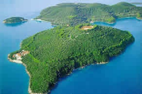 Onaissis' little get away across from Lefkatha.     Skorpios Island, Greece