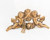 Vintage aged brass cherub brooch - circa 1940s 1950s stamped brass Georgian rococo and Victorian revival brooch - Valentine's Day angel pin