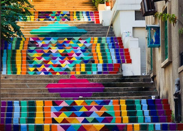 Vibrant Paint Patterns Brighten Up Beirut's Urban Landscapes