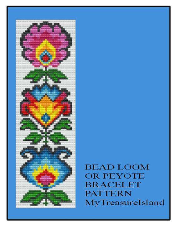 Bead Loom or Peyote Polish Folk Art Flowers Bracelet Pattern PDF