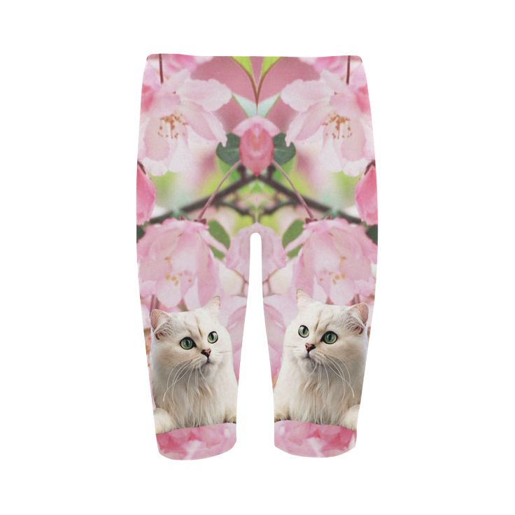 Cat and Flowers Cropped Leggings