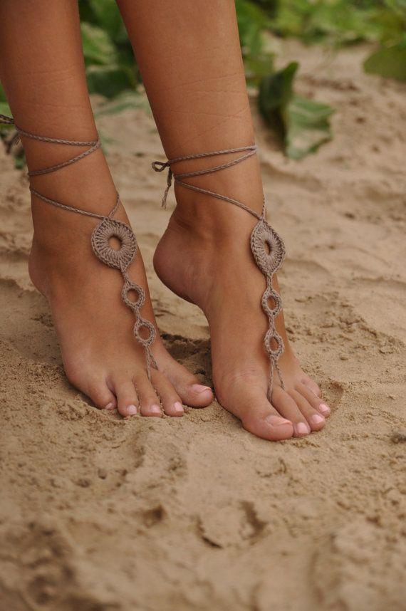 Haak Tan Barefoot Sandals, Brown naakt schoenen, voet huwelijksjuwelen, Sexy accessoires, Yoga Anklet, buikdansen, Steampunk, strand accessoire