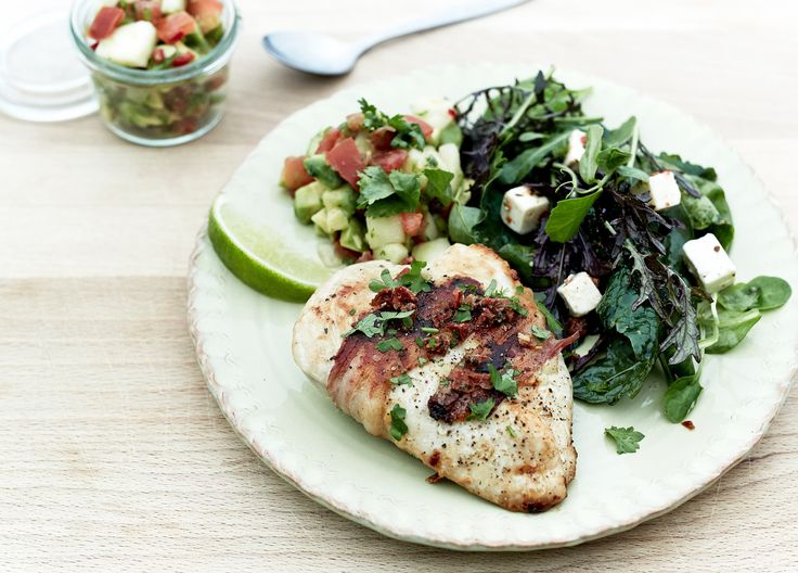 Feta stuffed chicken breasts with a peach salsa