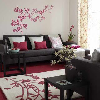 Charming Burgundy Sofa + Grey Wall + Fuschia Decal · For The HomeLiving Room ... Part 6