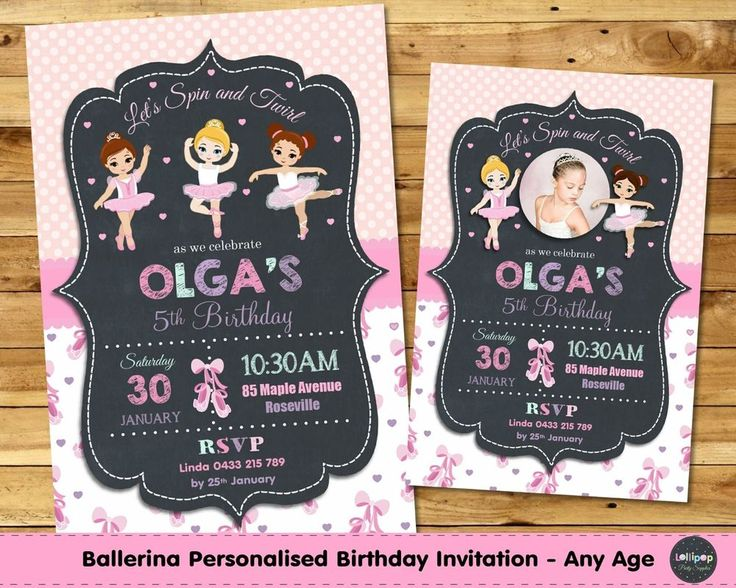 BALLERINA PERSONALISED INVITATION INVITE BIRTHDAY PARTY THANK YOU PHOTO BALLET #CUSTOMINVITATION #Birthday