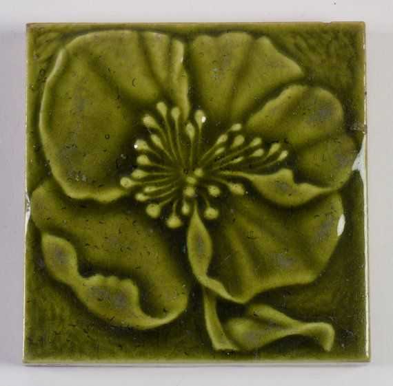 Antique William Godwin Arts and Crafts poppy majolica tile 1890. 5 available. Green