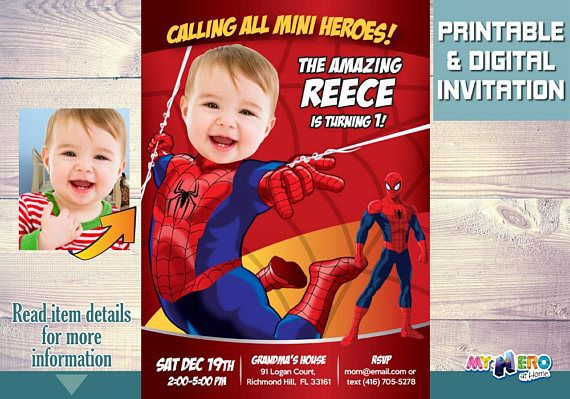 spider man 1st invitation baby