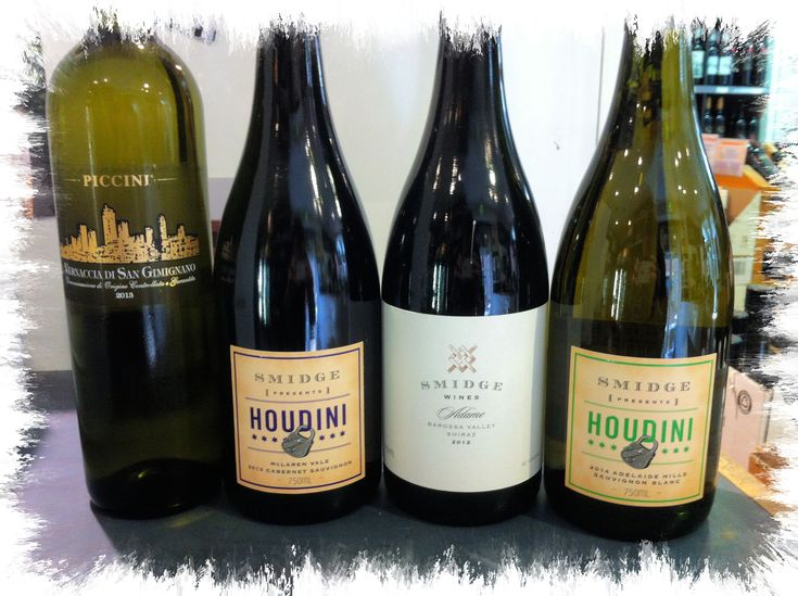 Wine Tasting Friday 29th Smidge Adelaide Hills Sauvignon Blanc Piccini Vernaccia Smidge Houdini Cabernet Sauvignon Smidge Adamo Shiraz