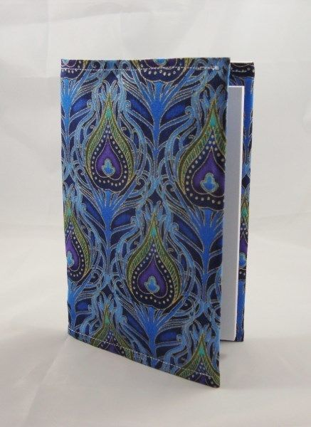 Blue Peacock Feather Fabric Covered A6 2014 Hardback Diary - Free UK P&P £8.00