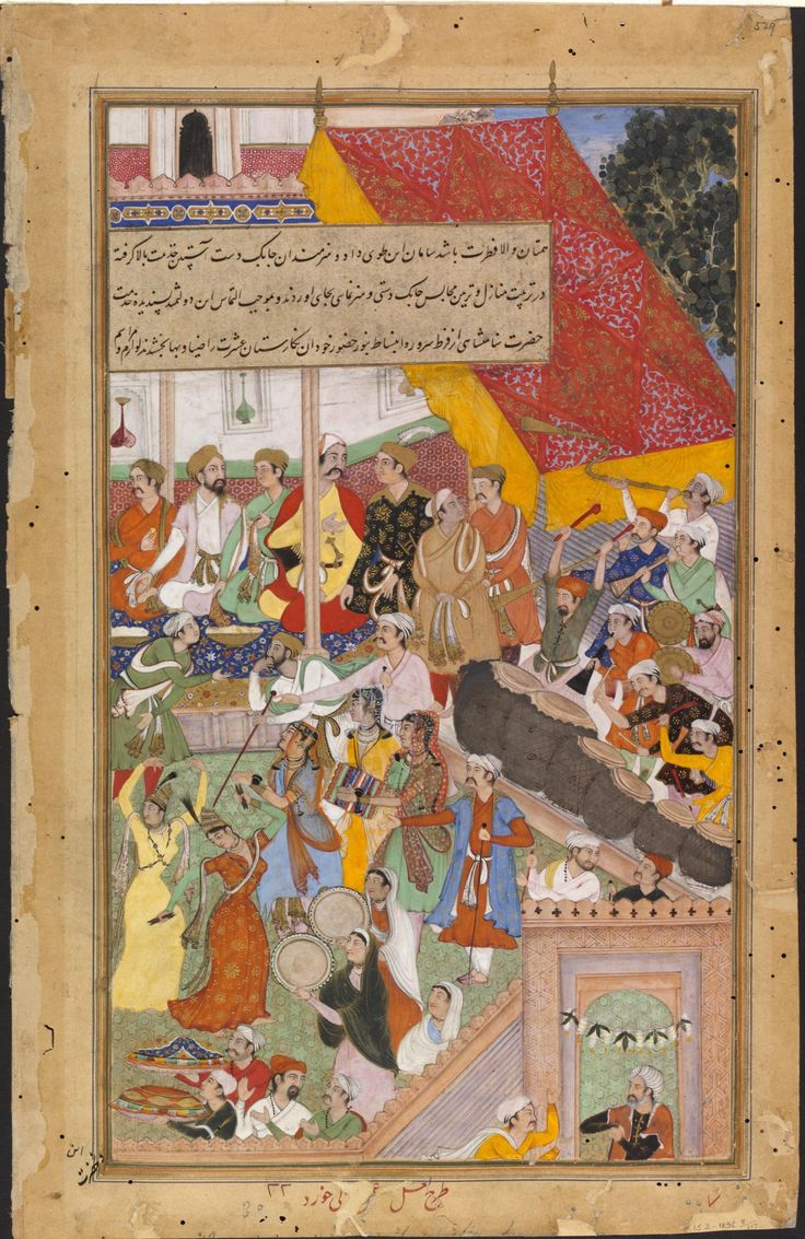 Painting, Akbarnama, scene from marriage entertainment of Baqi Muhammed Khan, outline by La'l, painting by Banwali the Younger, opaque watercolour and gold on paper, Mughal, ca. 1586-1589, Victoria and Albert Museum