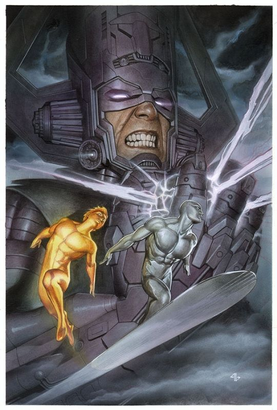 """Galactus and Silver Surfer by Adi Granov. """"All are insignificant before Galactus!"""""""