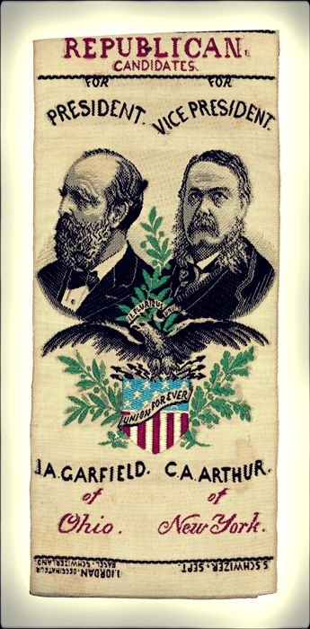 The 1880 presidential election saw Ohioan James A. Garfield and his running mate, Chester A. Arthur, defeat Civil War General Winfield Scott Hancock and William Hayden English.    Arthur would become president in 1881, following the assassination of Garfield.    Garfield & Arthur campaign ribbon from Heritage Auctions (HA.com)Civil Wars, Auction, Hayden, 1880 Presidential, Defeated Civil, Arthur Campaigns, General Winfield, 1880 S Silk, Campaigns Ribbons