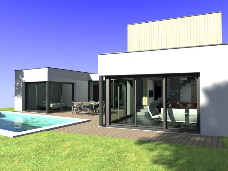 Projet d 39 une maison contemporaine toit plat et piscine for Construction piscine 41