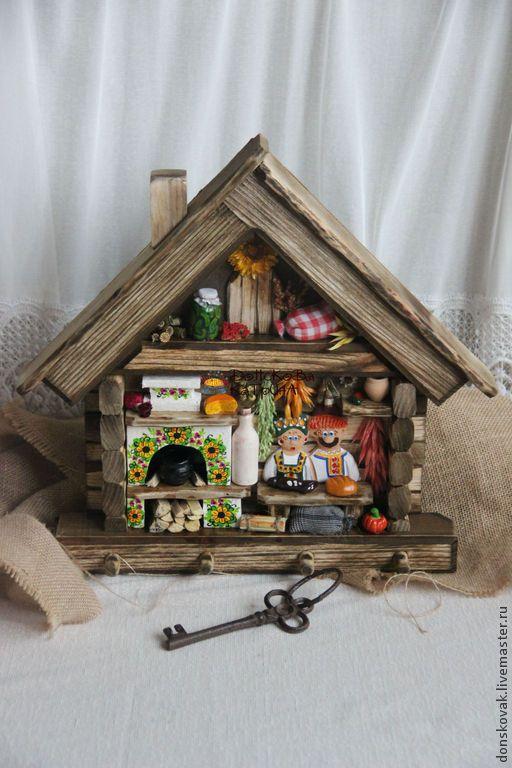 """Купить Большая ключница """"Деревенский домик"""" (панно) - ключница, ключница ручной работы, ключница настенная"""