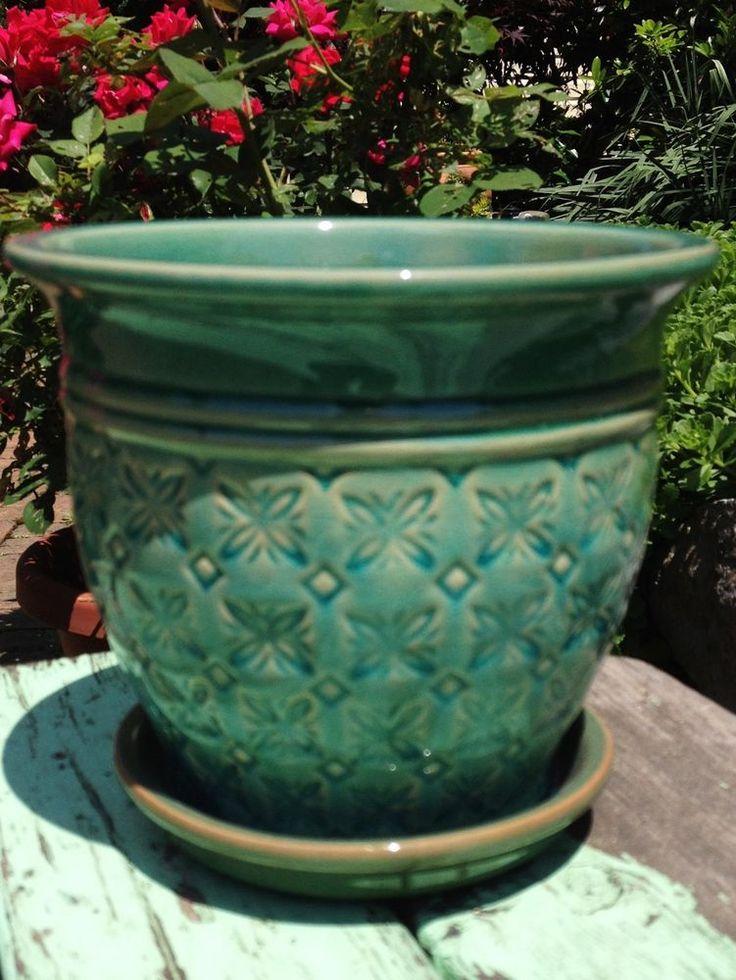 Ceramic planter turquoise blue green pottery pot garden