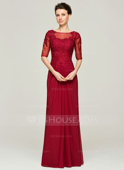 A-Line/Princess Scoop Neck Floor-Length Chiffon Lace Mother of the Bride Dress With Beading (008062571)