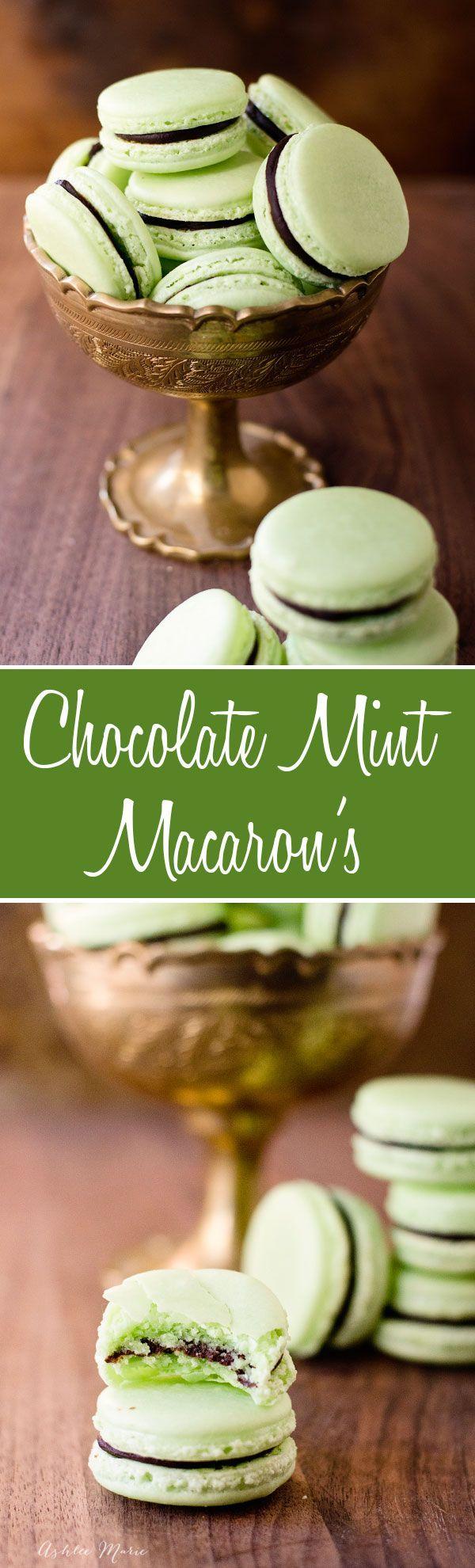 Macarons de menta con chocolate