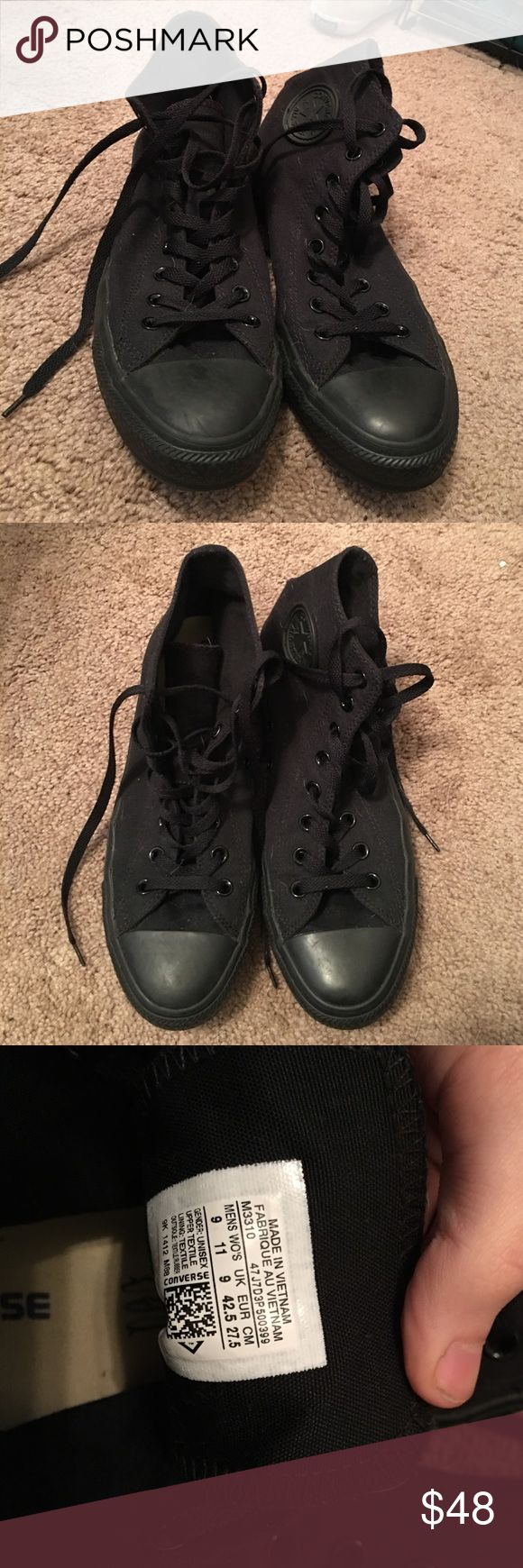 Black Converse Hightops Like new black high top converse, only worn a handful of times. They are a men's 9 or a woman's 11. Open to offers :) Converse Shoes Sneakers