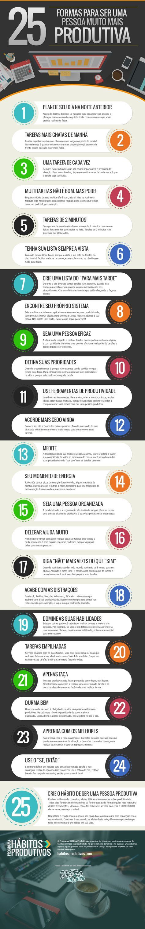 Um infográfico com 25 formas de ser uma pessoa produtiva que traz algumas dicas importantes. #produtividade