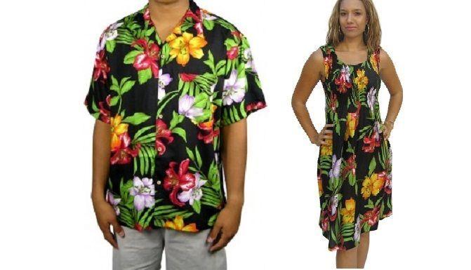 NEW HAWAIIAN COUPLES COSTUME SET MEN'S SHIRT & LADIES DRESS BLACK SIZE S - 3X  | eBay
