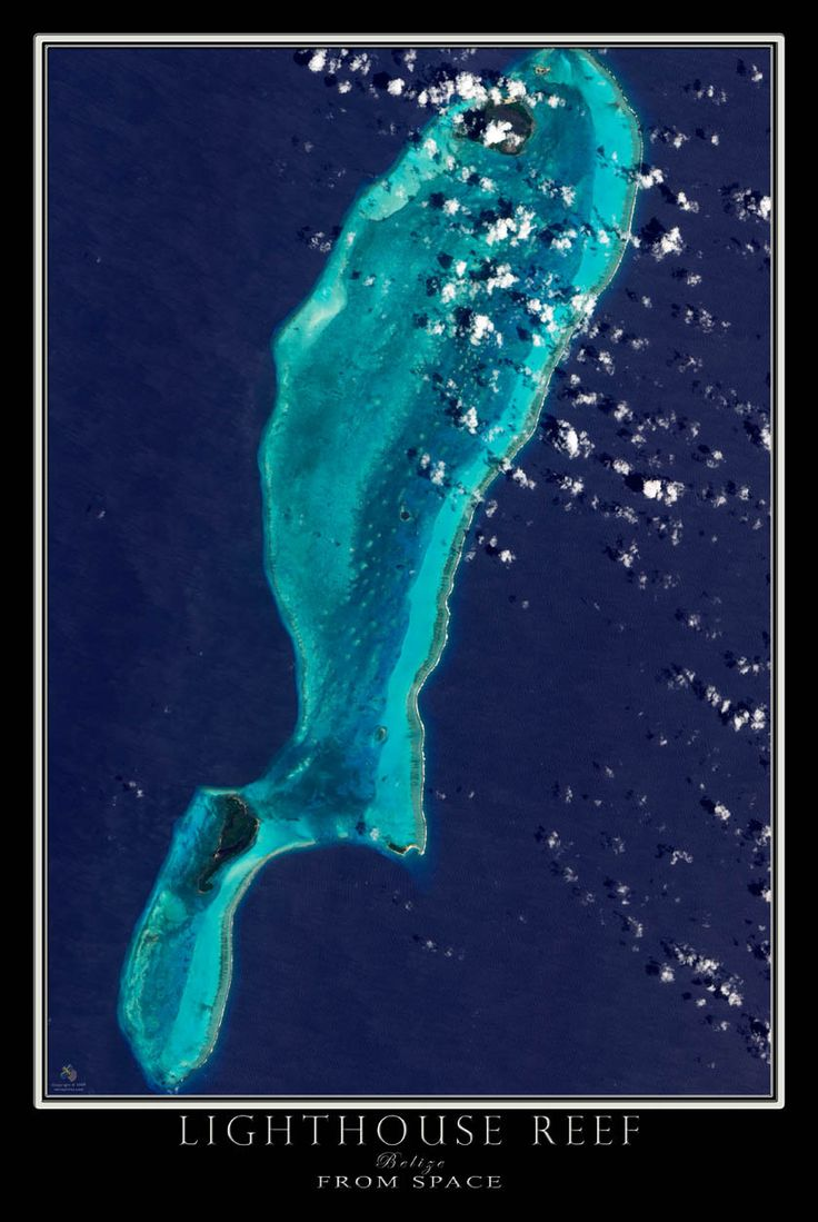 Lighthouse Reef Belize Satellite Poster Map