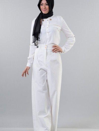 The Kendira Pantolon Etek P1995-12 Beyaz
